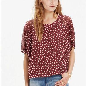 MADEWELL Silk Polka Dot Prose Cropped Blouse